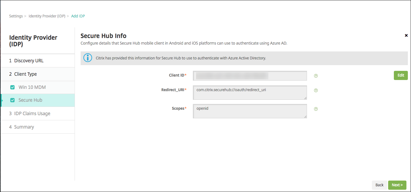 Image of Identity Provider configuration screen