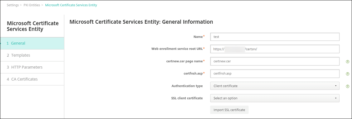 Image of Certificates configuration screen