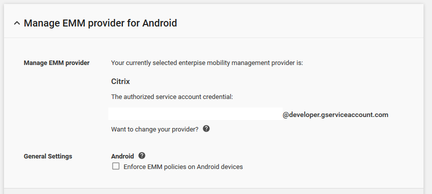 Manage EMM provider for Android(Android용 EMM 공급자 관리) 옵션의 이미지