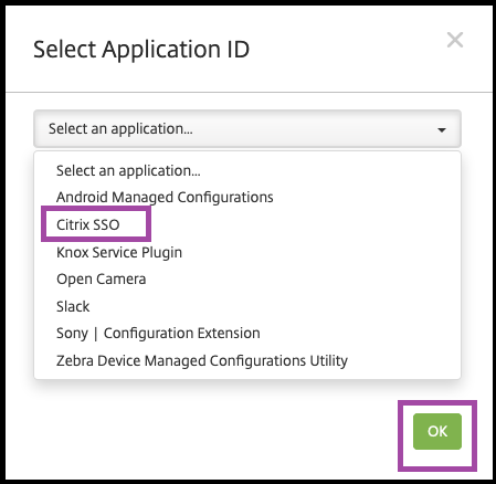 Image of Select Application ID window