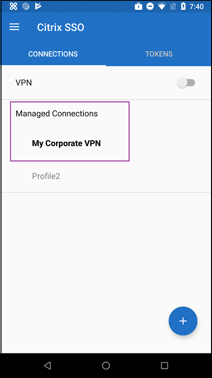 Image of Managed Connection area of SSO app on device