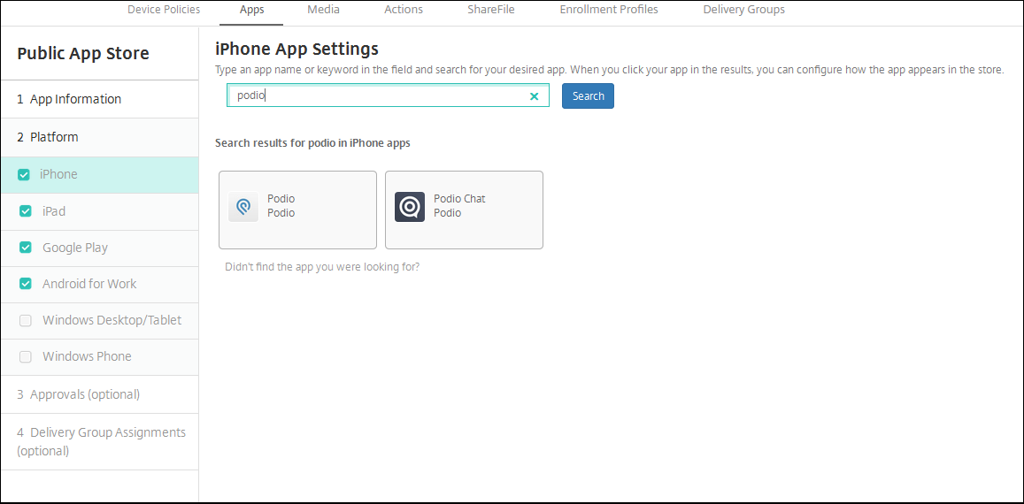 Apps configuration screen