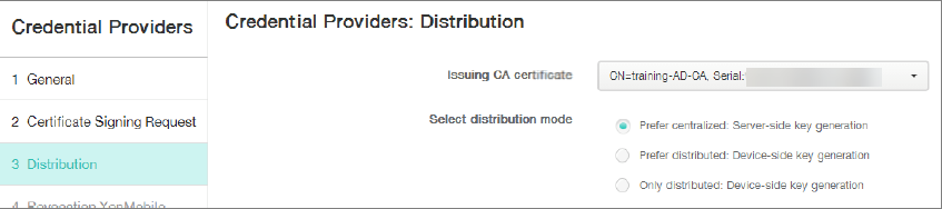 Image of Credential Providers configuration screen