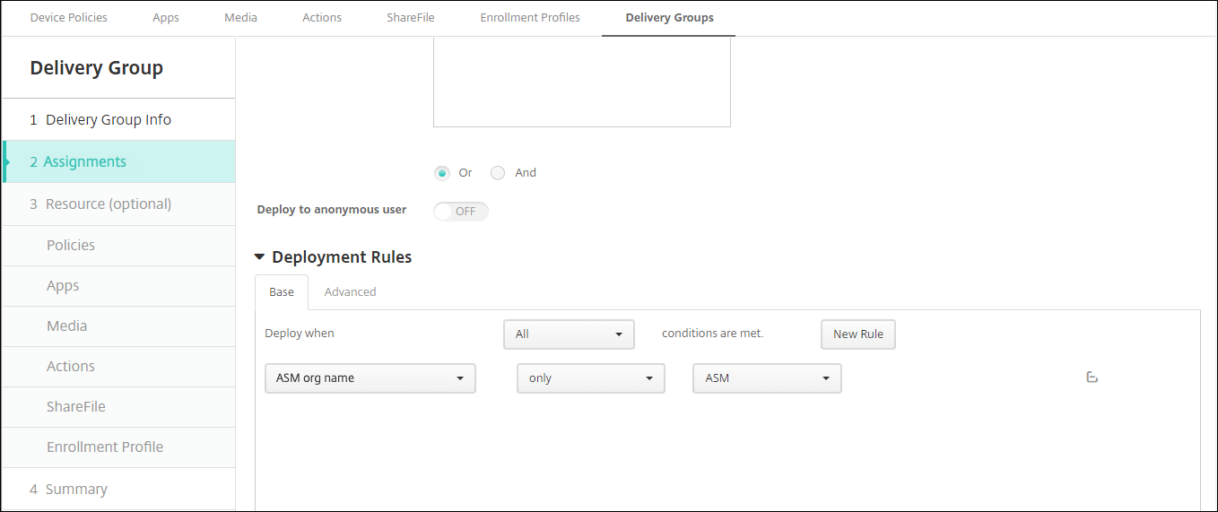 Image of Delivery Groups configuration screen