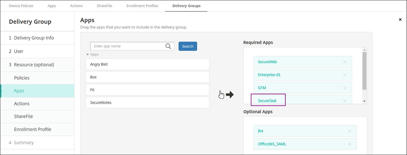 Delivery Groups configuration screen