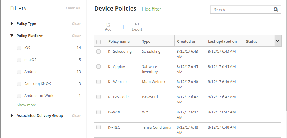 Device policies