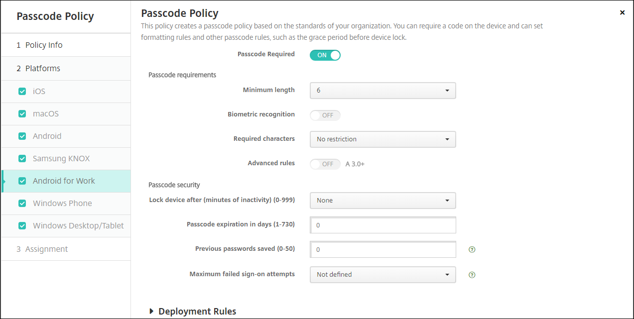 Image of the Passcode policy page