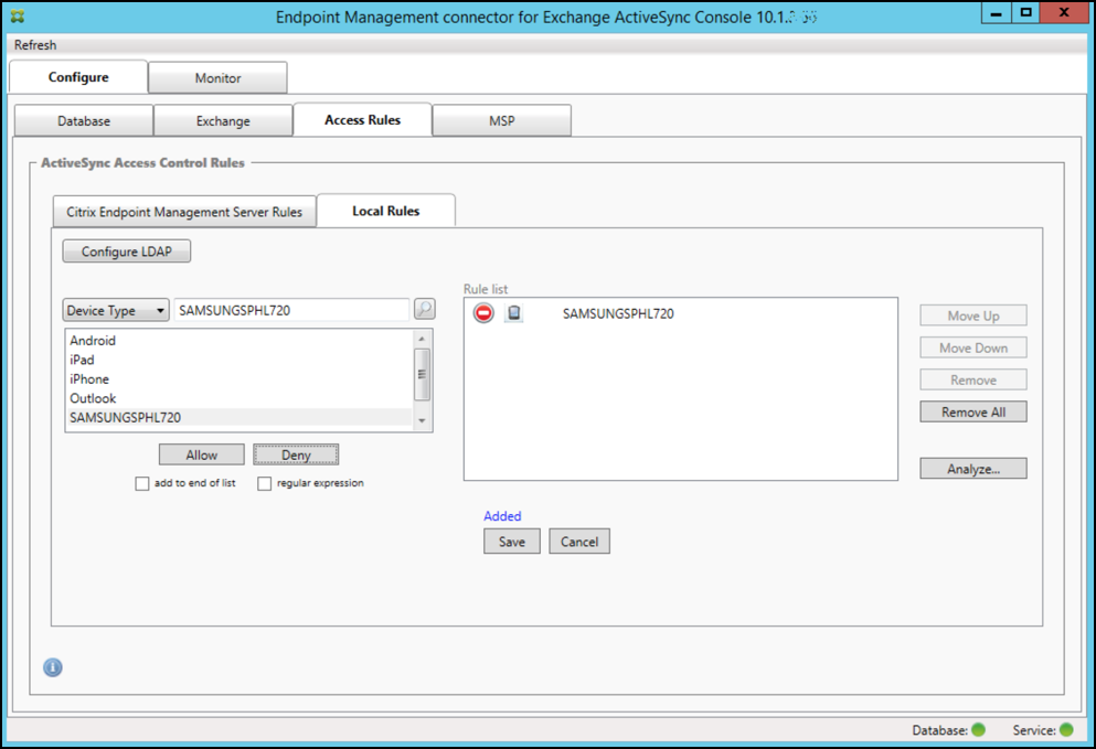 Image de la page de la console Endpoint Management Connector pour Exchange ActiveSync