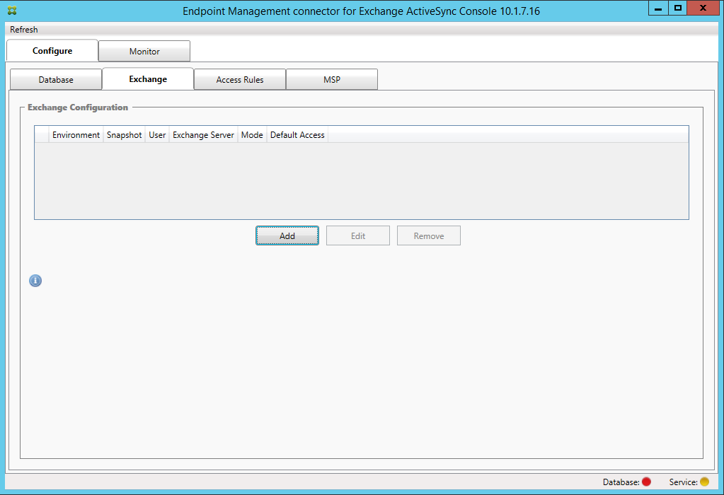 Image de l'écran d'Endpoint Management Connector pour Exchange ActiveSync