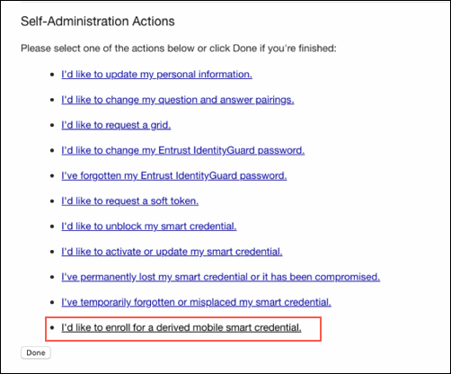 Image of entrust admin actions