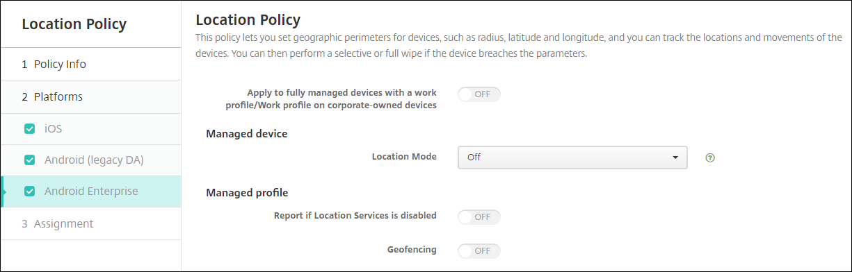 Image of Location Policy Android Enterprise
