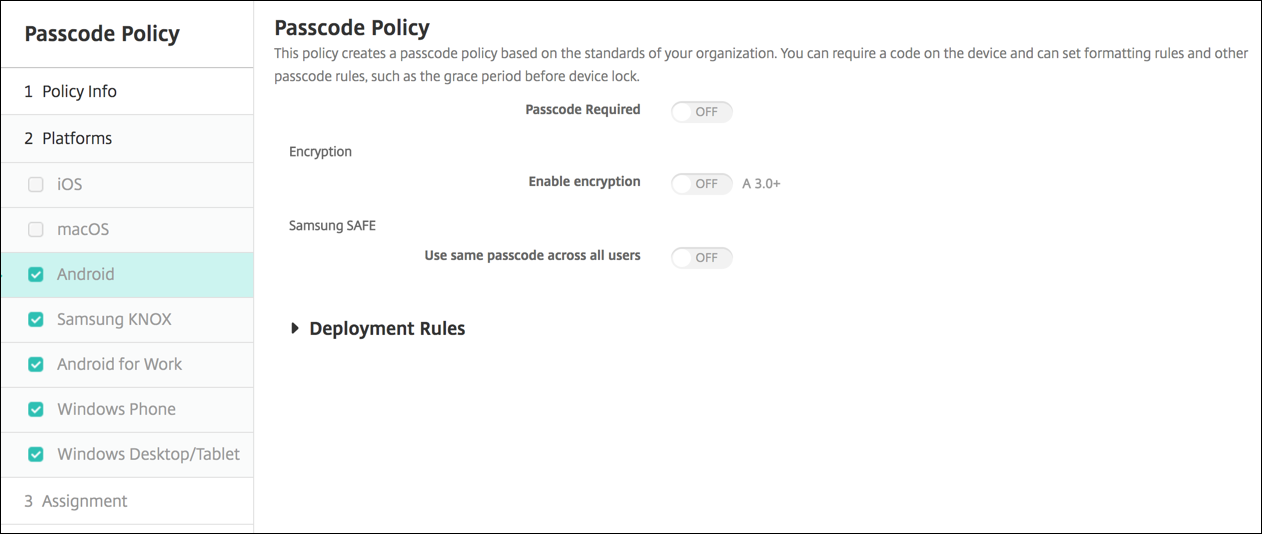 Image of Device Policies configuration screen