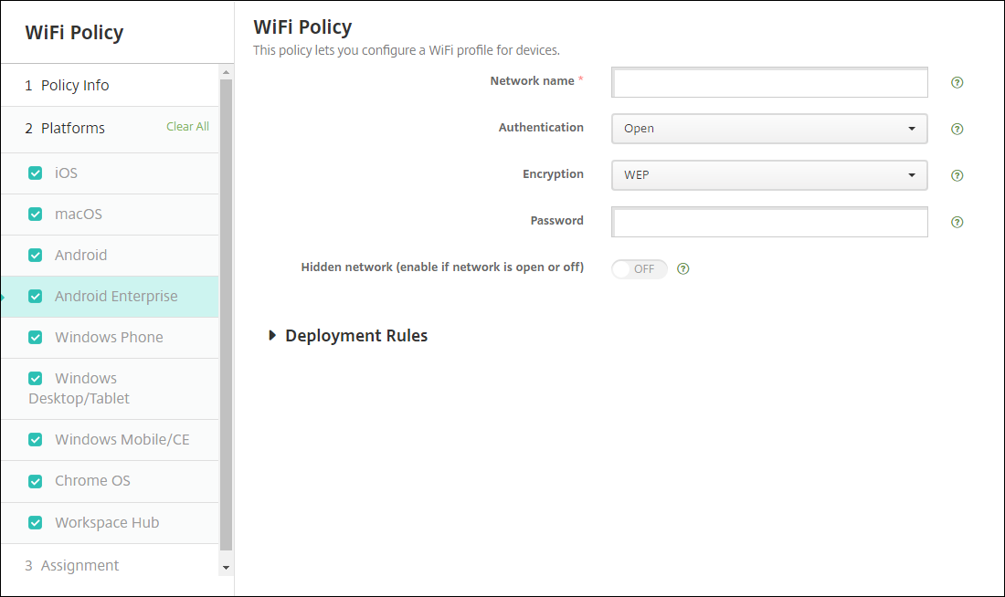 WiFi device policy