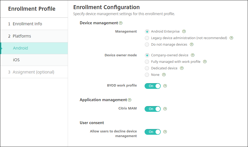 Enrollment Profile page for Android, MDM+MAM mode