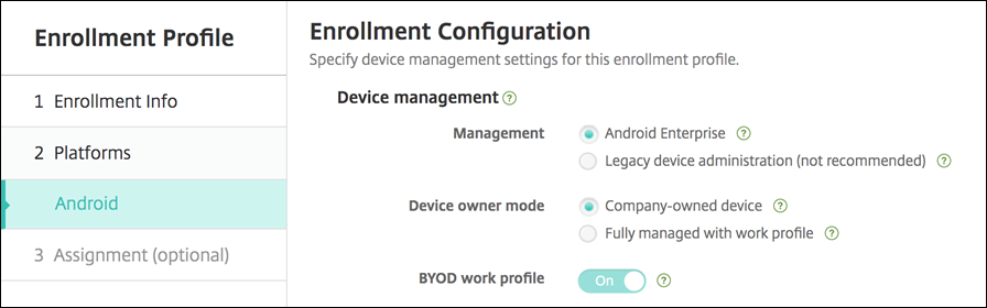 Enrollment profile options without multimode