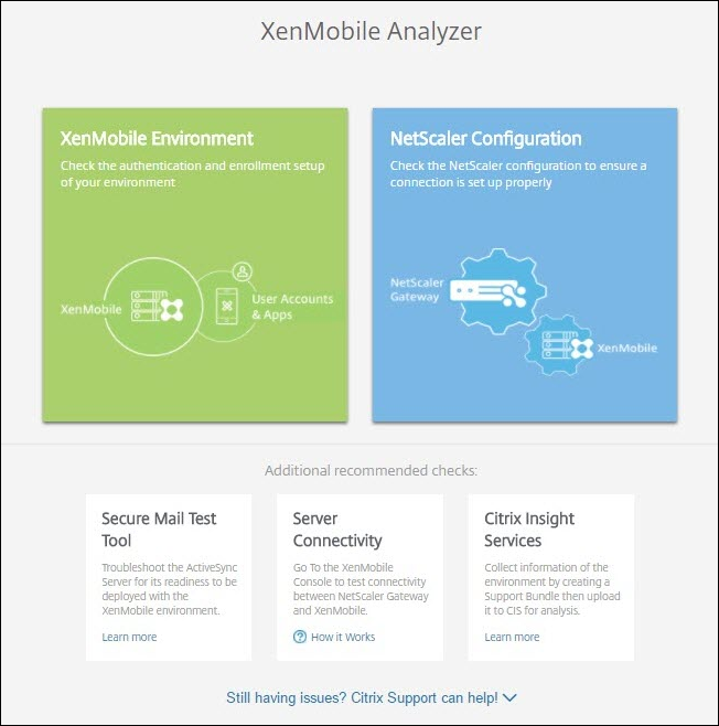 Vérifications et configuration de XenMobile Analyzer