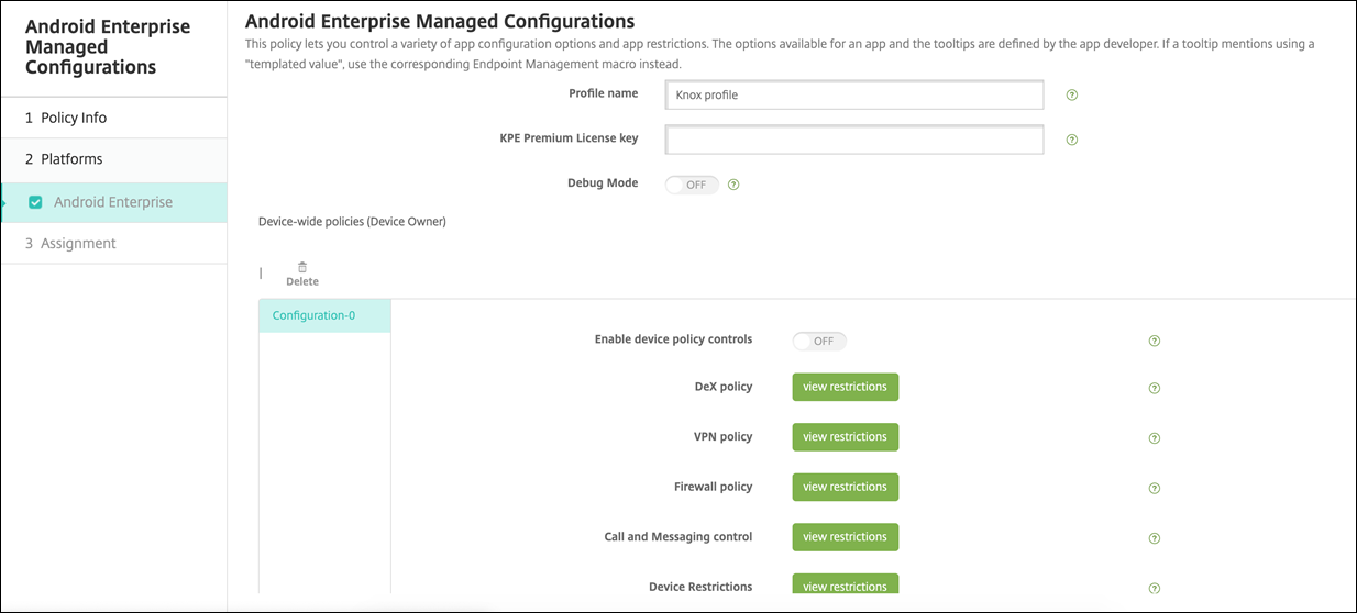 Android Enterprise managed configuration Knox service plug-in policy