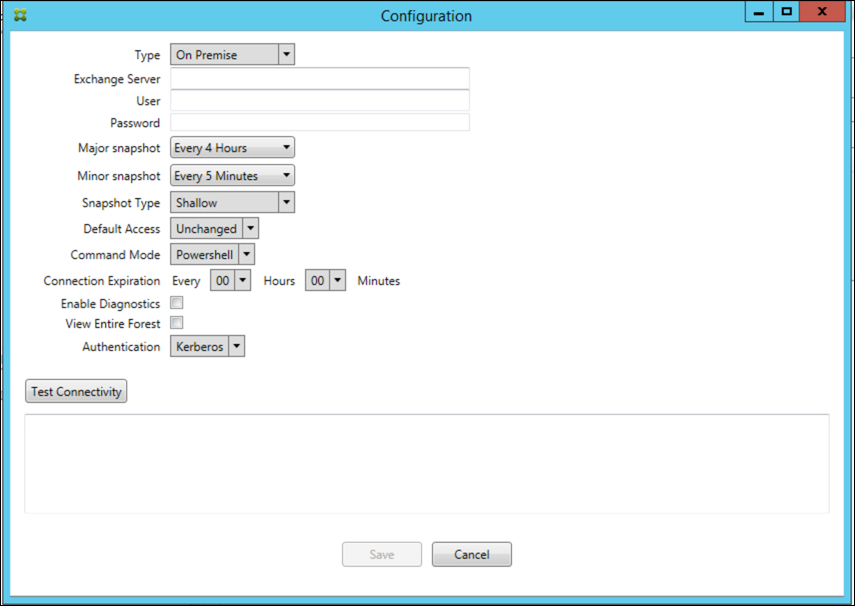 Image de la console Endpoint Management Connector pour Exchange ActiveSync