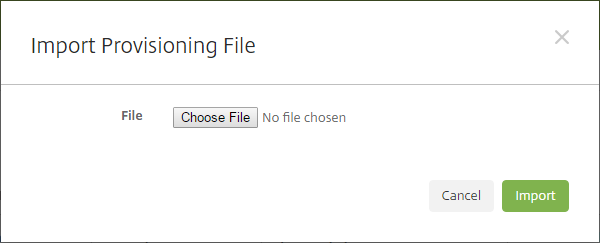 Image of the Import Provisioning File dialog box