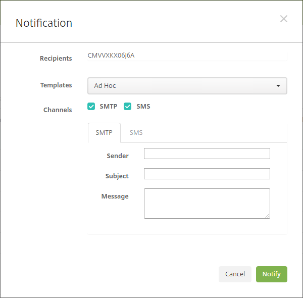 Image of the Notification dialog box