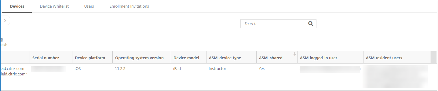 Devices configuration screen