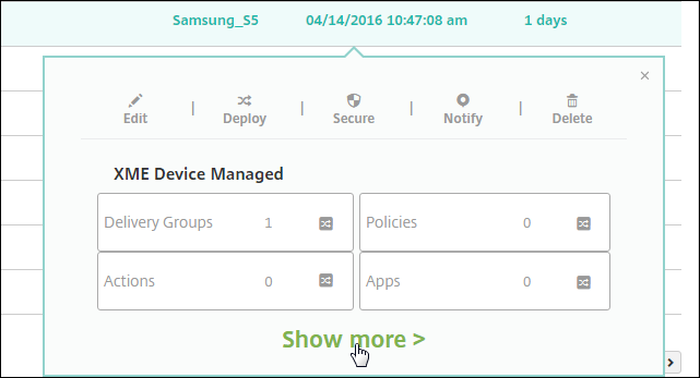 Image of Manage Devices screen