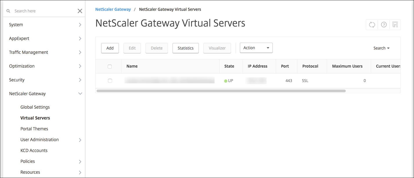 Image of NetScaler VPX configuration screen