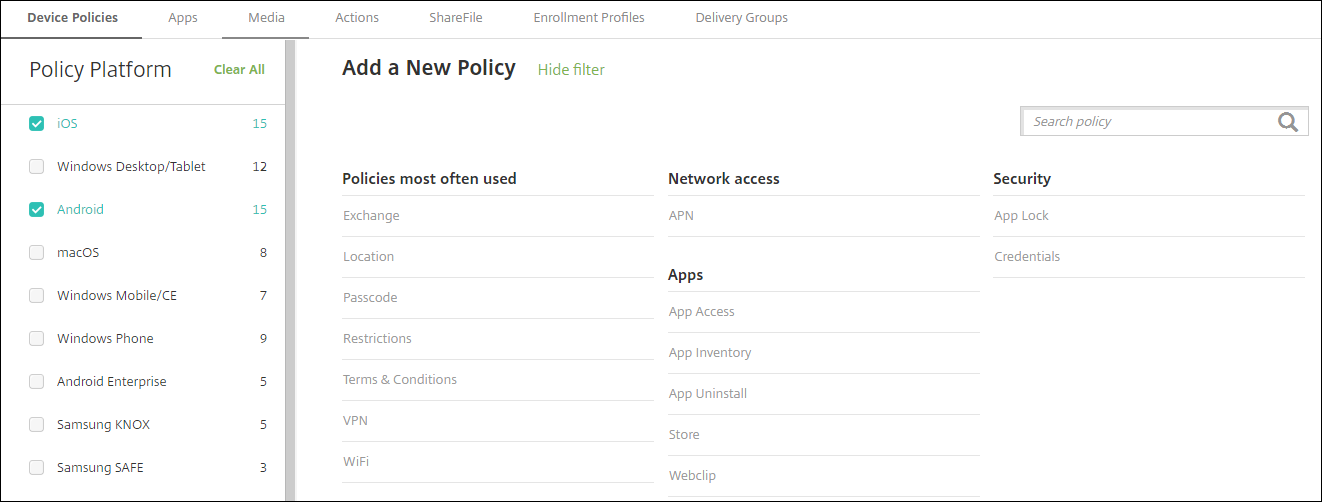 Image of Device Policies configuration screen filtered