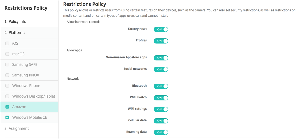 Restrictions device policy
