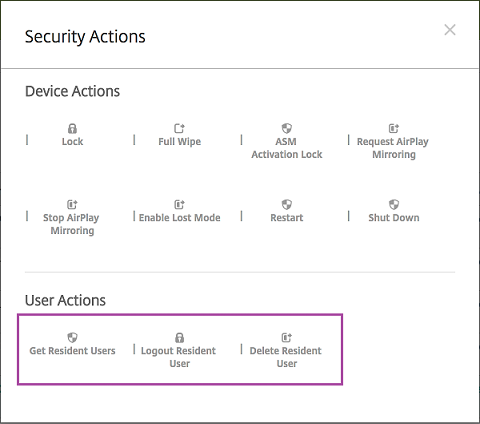Security Actions screen