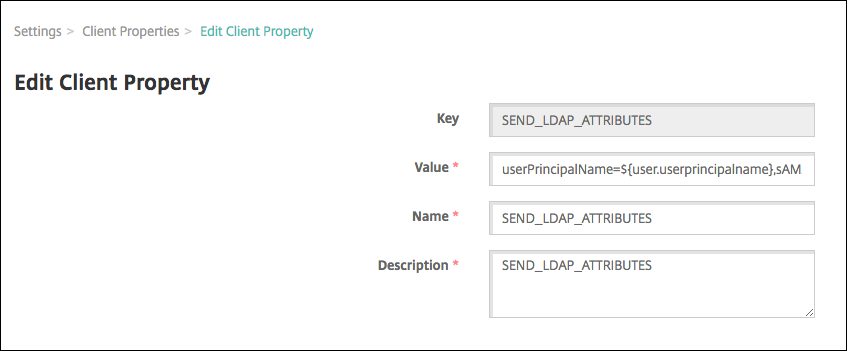 Image of Client Properties configuration screen