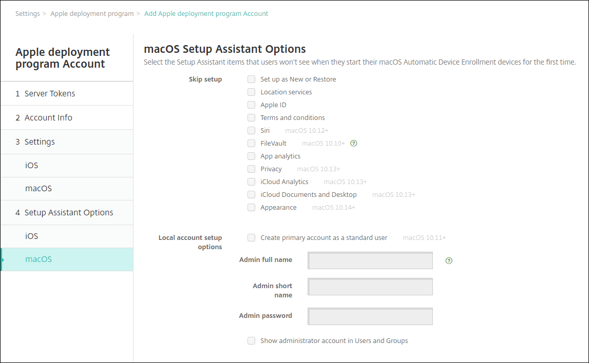 Image of Apple DEP settings screen