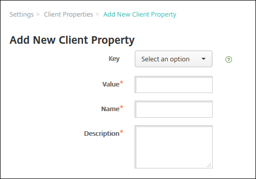 Image of Client Properties screen