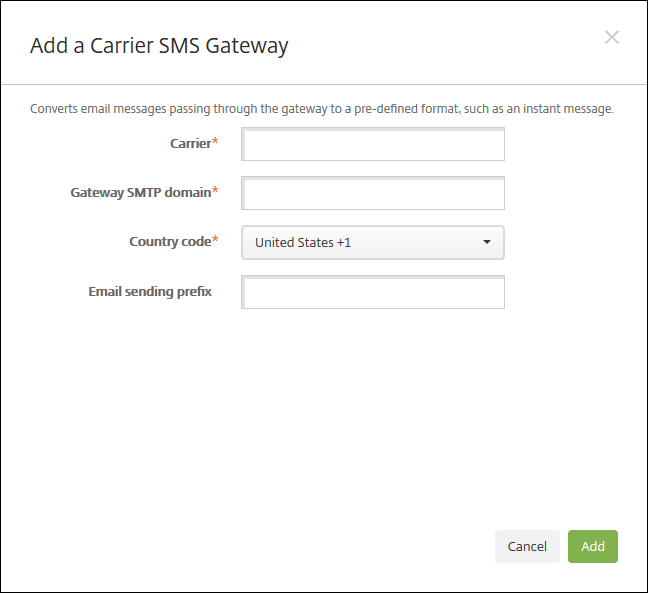 Image of notification server add SMS Gateway