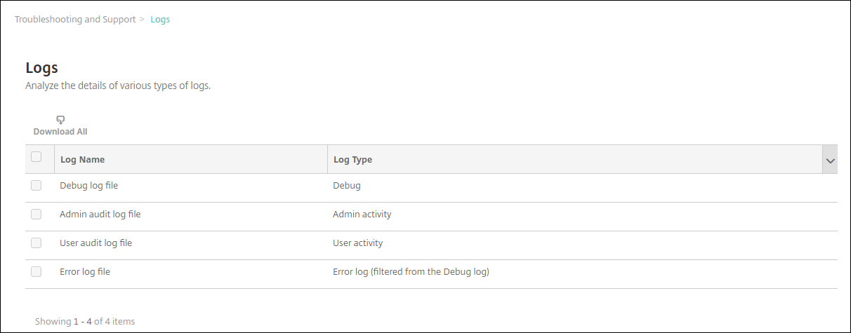 View and analyze log files in XenMobile