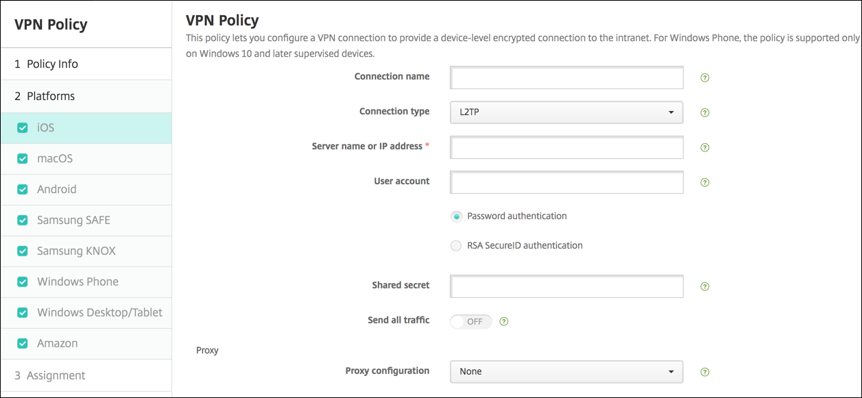 VPN device policy