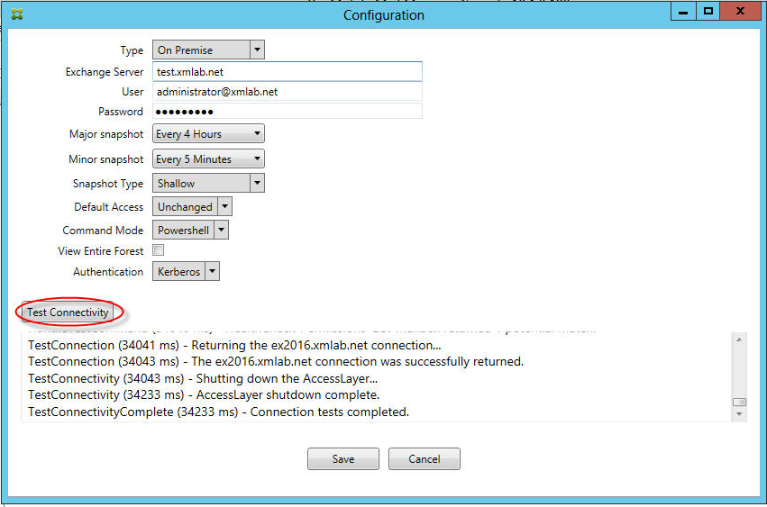 Image of Endpoint Management connector for Exchange ActiveSync console page